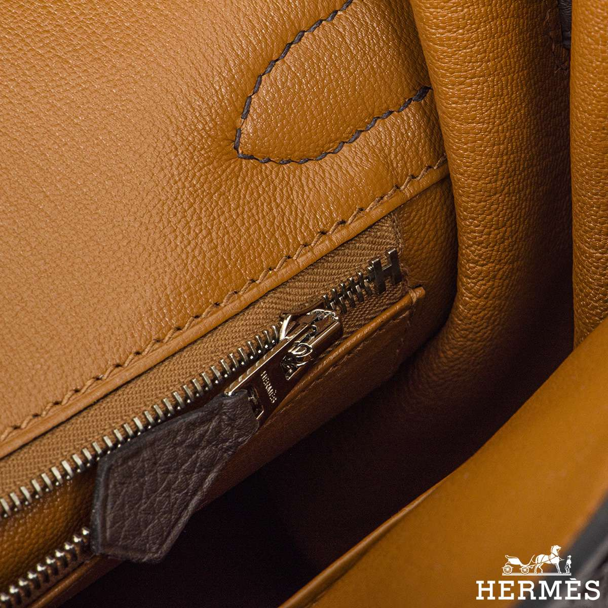 Hermès Birkin 30 Ebene/Gold Verso Togo PHW